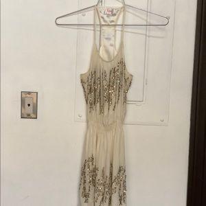 Parker Dress, Silk w/ Gold Sequins